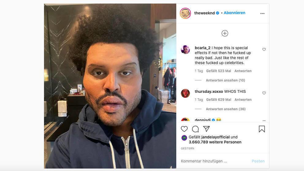 Hat aber auch was vom verrückten Professor: The Weeknd, aufgedunsen auf Instagram