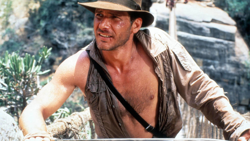 "Harrison Ford in ""Indiana Jones And The Temple Of Doom"" aus dem Jahr 1984."