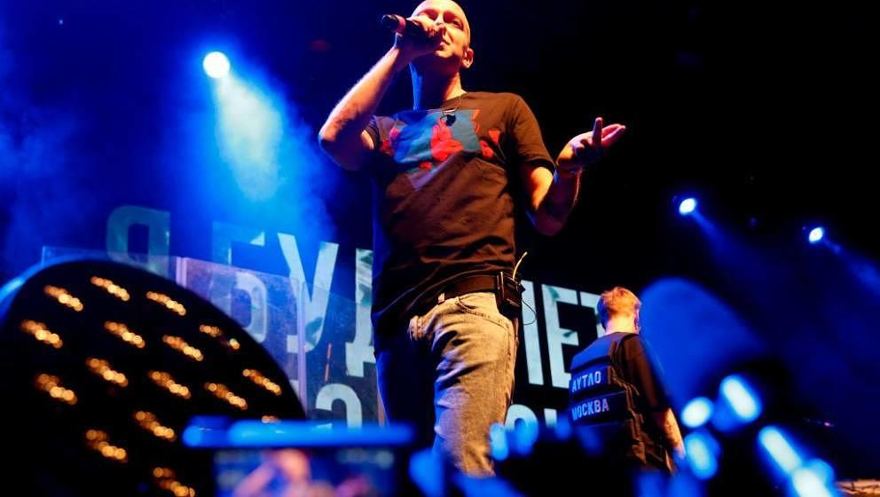 Rapper Oxxxymiron performs during a concert in support of rapper Husky, whose real name is Dmitry Kuznetsov, at a Moscow club
