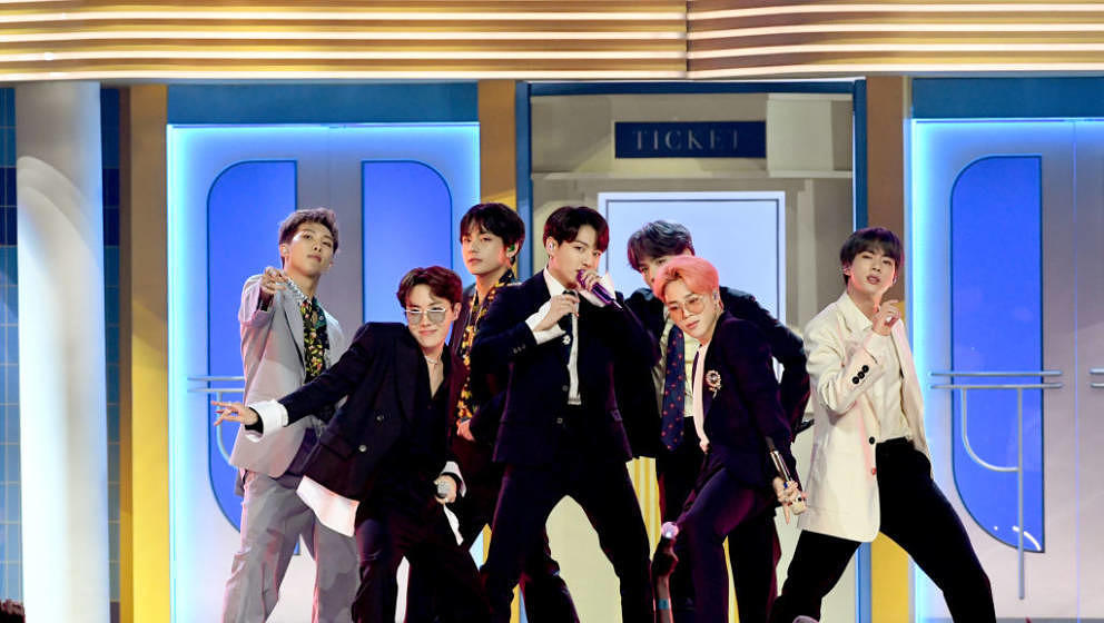 LAS VEGAS, NEVADA - MAY 01: BTS perform onstage during the 2019 Billboard Music Awards at MGM Grand Garden Arena on May 01, 2