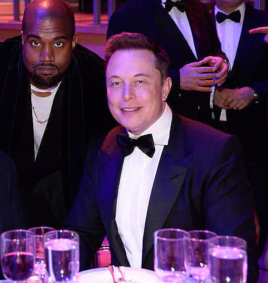 NEW YORK, NY - APRIL 21:  George Lucas, Kanye West and Elon Musk attend TIME 100 Gala, TIME's 100 Most Influential People In