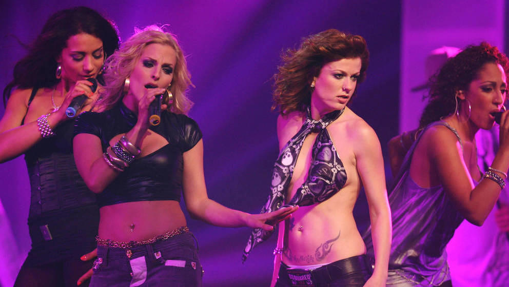 HANOVER, GERMANY - MAY 25:  (L-R) Jessica, Sandy and Lucy of pop group No Angels perform during 'The Dome 42' music show at t
