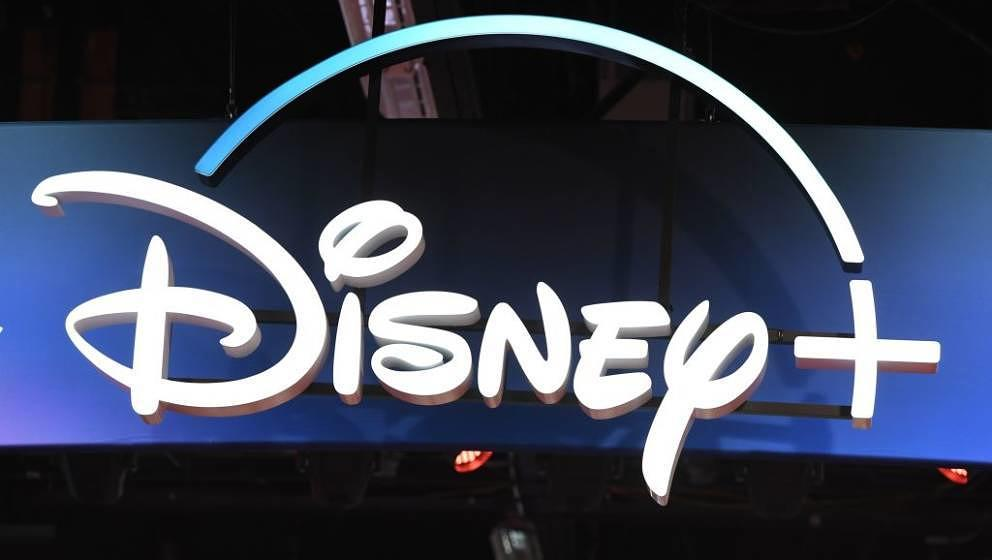 A Disney+ streaming service sign is pictured at the D23 Expo, billed as the 'largest Disney fan event in the world,' on Augus