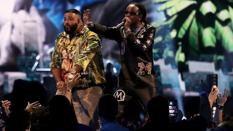 CHICAGO, ILLINOIS - FEBRUARY 16: DJ Khaled (L) and Quavo perform at halftime of the 69th NBA All-Star Game at the United Cent