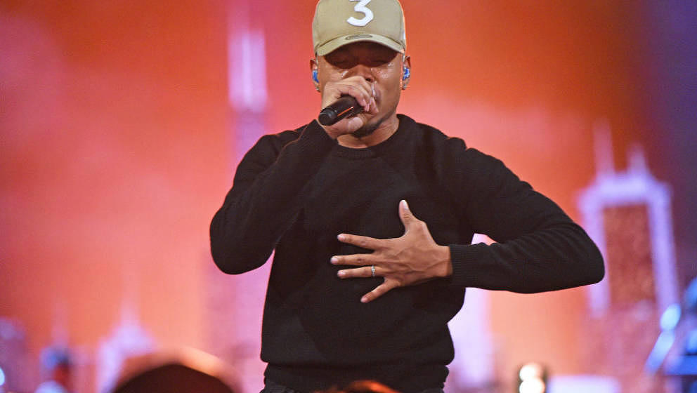 CHICAGO, ILLINOIS - FEBRUARY 16: Chance the Rapper performs onstage during the 69th NBA All-Star Game at United Center on Feb