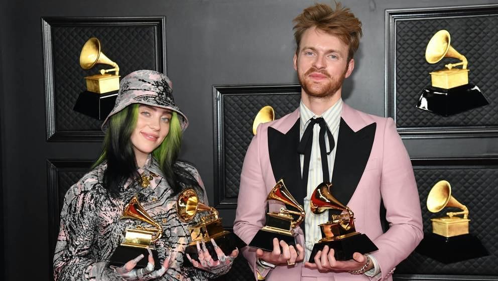 Los Angeles, 14. März: Billie Eilish und ihr Bruder Finneas gewinnen einen Grammy-Award.