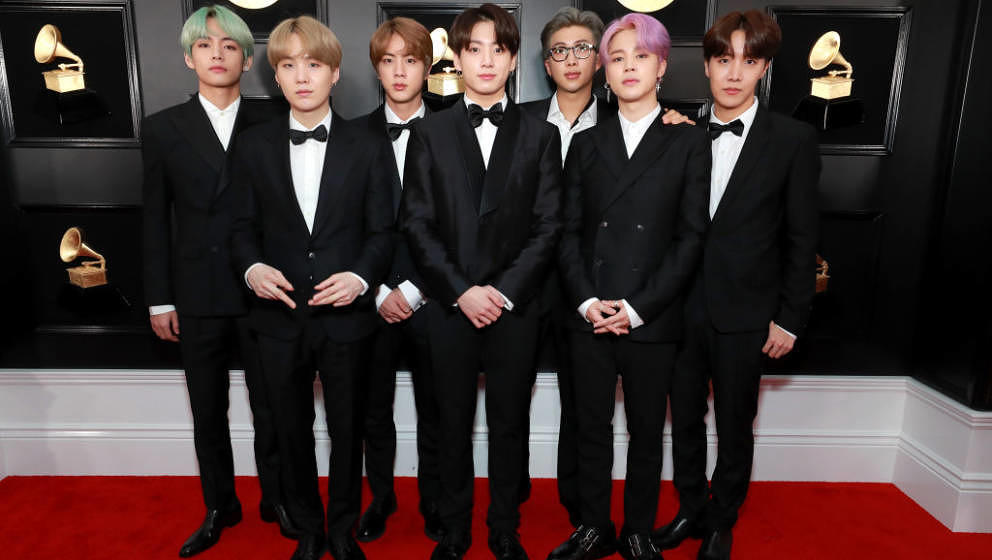 LOS ANGELES, CA - FEBRUARY 10:  BTS attends the 61st Annual GRAMMY Awards at Staples Center on February 10, 2019 in Los Angel