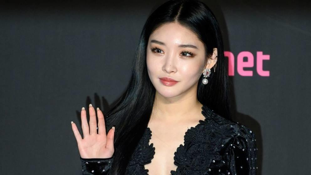 South Korean singer Chungha poses on the red carpet at the Mnet Asian Music Awards (MAMA) in Hong Kong on December 14, 2018.