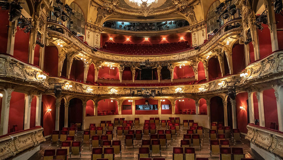 BERLIN, GERMANY - JUNE 03: Chairs from the rows of seats are set apart in the auditorium of the Berliner Ensemble on June 03,