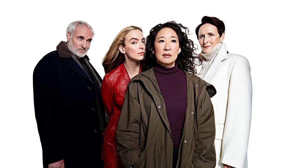 """Die Protagonist*innen der Serie """"Killing Eve"""" (von links nach rechts): Kim Bodnia, Jodie Comer, Sandra Oh und Fiona Shaw."""