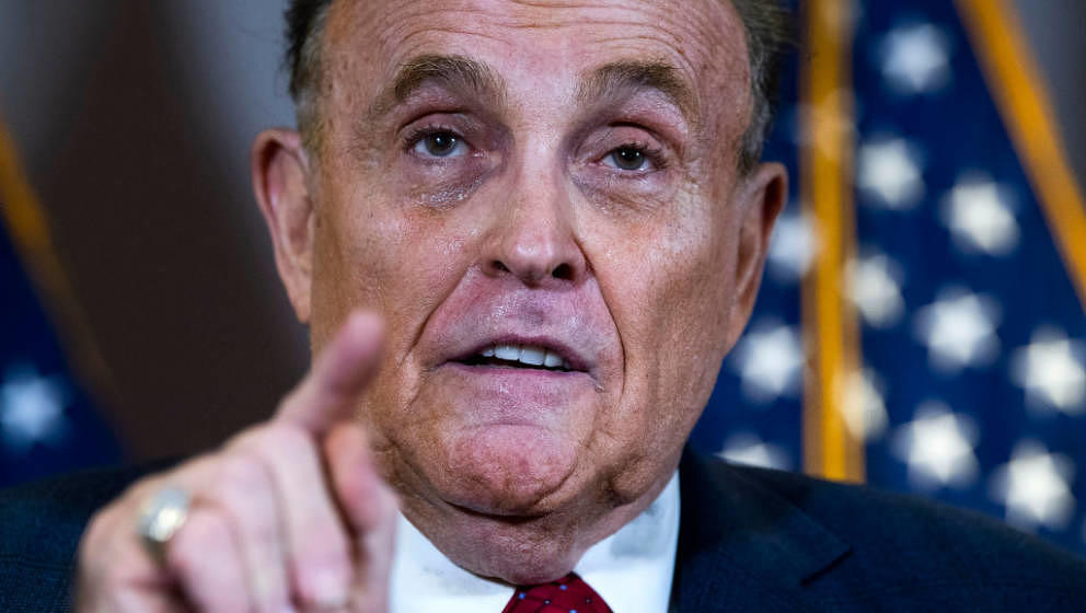 UNITED STATES - NOVEMBER 19 (FILE): Rudolph Giuliani, attorney for President Donald Trump, conducts a news conference at the