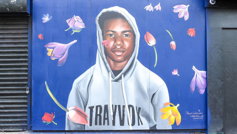 NEW YORK, NY - AUGUST 21: A view of the Trayvon Martin mural at the Trayvon Martin Mural Unveiling on August 21, 2018 in New