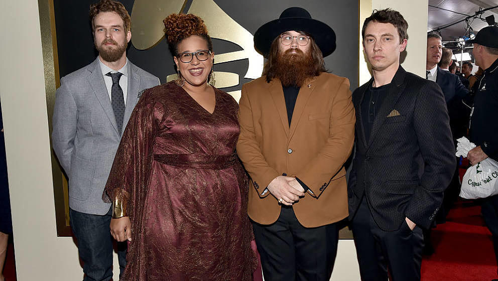LOS ANGELES, CA - FEBRUARY 15:   (L-R) Musicians Steve Johnson, Brittany Howard, Zac Cockrell and Heath Fogg of Alabama Shake