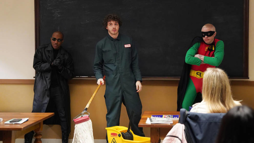 SATURDAY NIGHT LIVE -- 'Maya Rudolph' Episode 1800 -- Pictured: (l-r) Chris Redd, musical guest Jack Harlow, and Pete Davidso