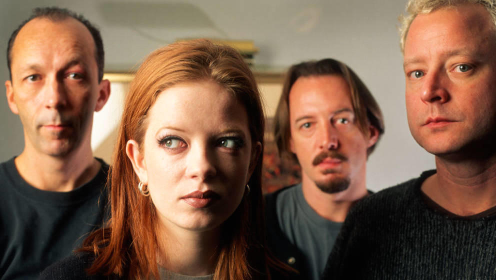 Garbage, Shirley Manson, Duke Erikson, Steve Marker, Butch Vig, Holiday Inn City Hotel, Brussels, Belgium, 30/11/1995. (Photo