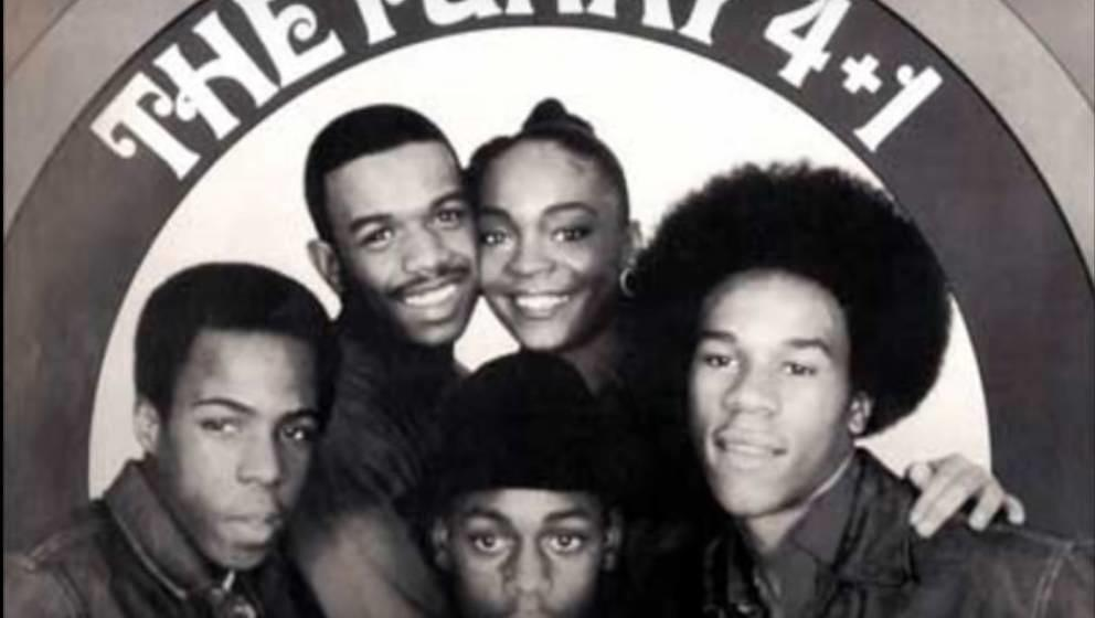 """Sha-Rock hinten rechts neben ihren Bandmitgliedern von The Funky 4+1 auf dem Cover von ihrem Hit""""That's The Joint"""" (198"""