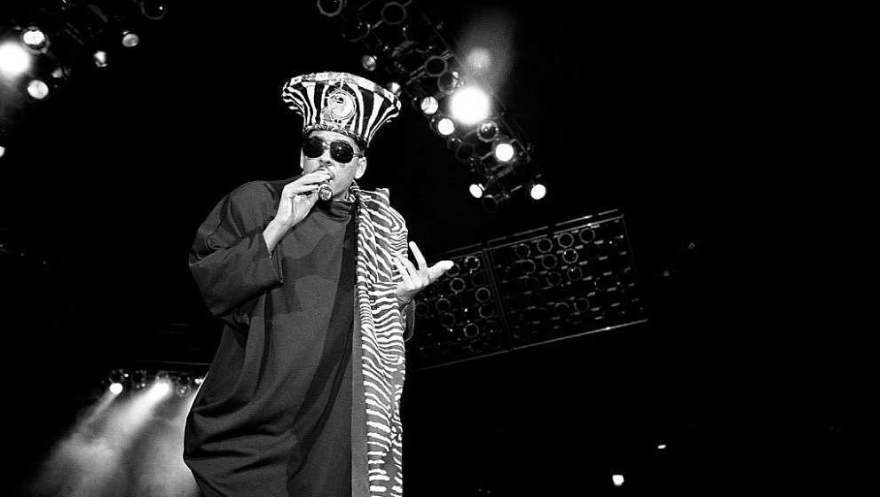 INDIANAPOLIS - JULY 1990:  Rapper Shock G. of Digital Underground performs at Market Square Arena in Indianapolis, Indiana in