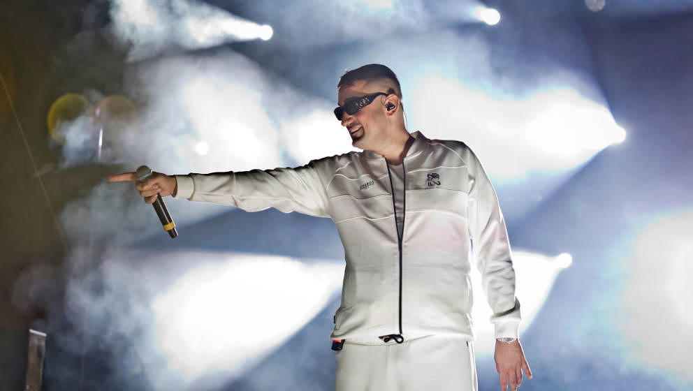 SCHOENEFELD, GERMANY - SEPTEMBER 12: Rapper Aykut Anhan aka Haftbefehl performs live on stage during a concert at the Autokin