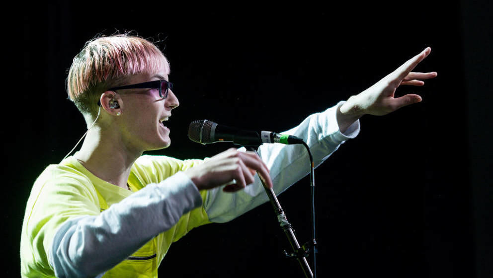 LISBON, PORTUGAL - FEBRUARY 19: Gus Dapperton performs at Teatro Capitolio on February 19, 2019 in Lisbon, Portugal. (Photo b