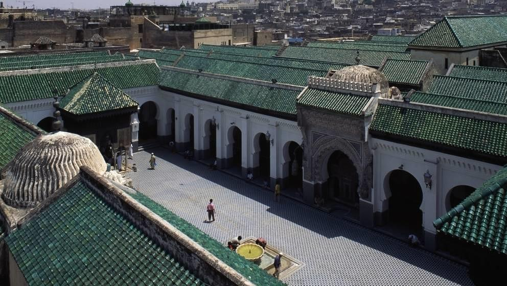 MOROCCO - JANUARY 22: University of al-Qarawiyyin, 859, medina of Fez (UNESCO World Heritage List, 1981). Morocco, 9th centur