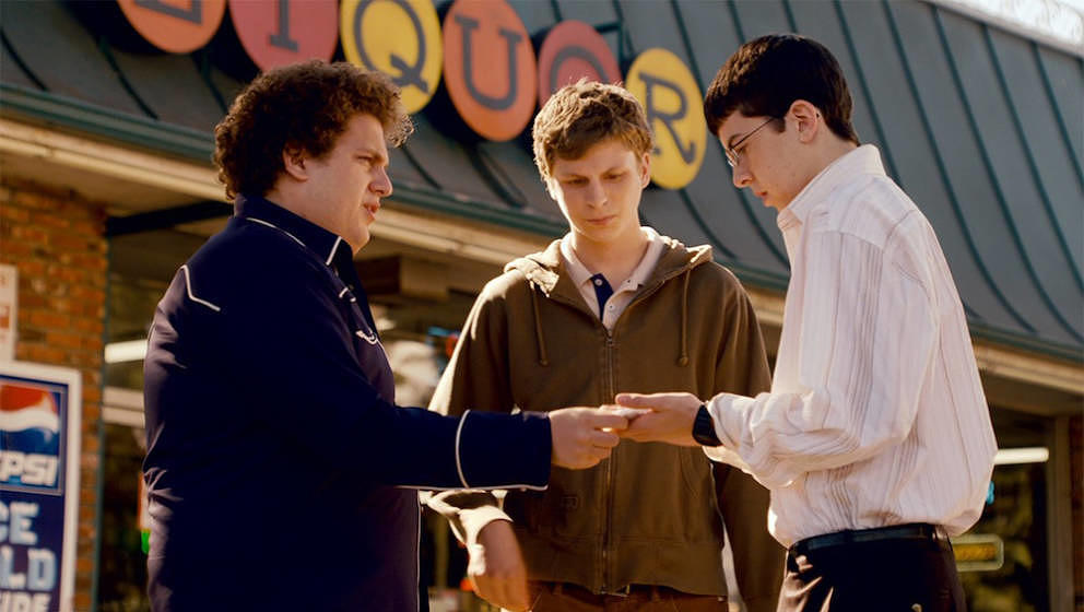 "Christopher Mintz-Plasse, Jonah Hill und Michael Cera in ""Superbad"", 2007."