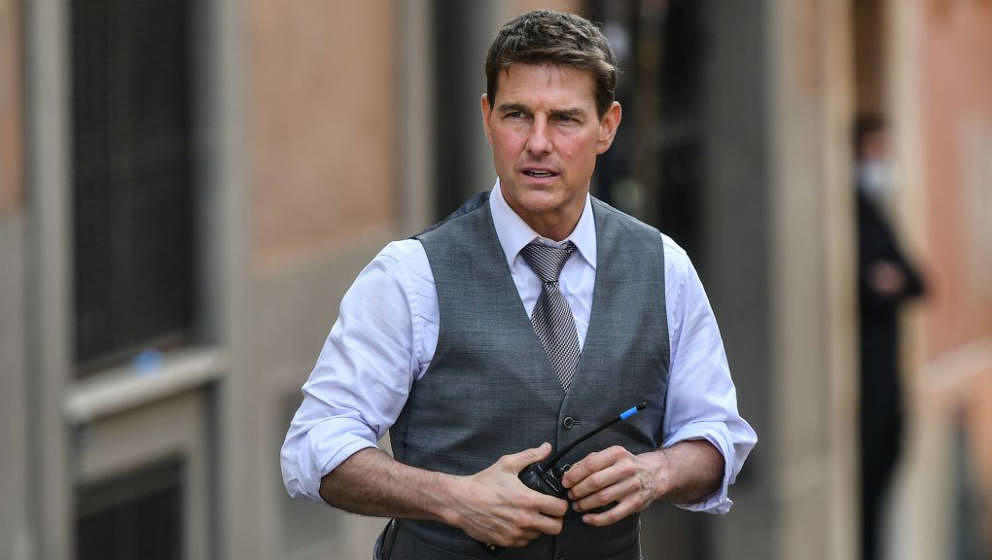 US actor Tom Cruise is pictured during the filming of 'Mission Impossible : Lybra' on October 6, 2020 in Rome. (Photo by Albe