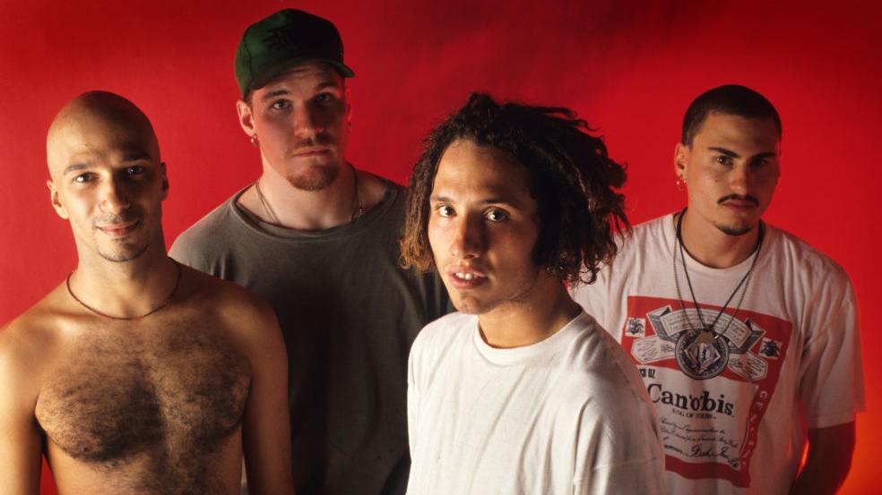 Rage Against The Machine, Zack De La Rocha, Tim Commerford, Brad Wilk, Tom Morello, Brielpoort, Deinze, Belgium, 06/06/1993.