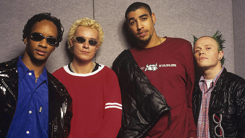 The Prodigy (Maxim, Liam Howlett, Leeroy Thornhill and Keith Flint), dance group, circa 1995. (Photo by Tim Roney/Getty Image