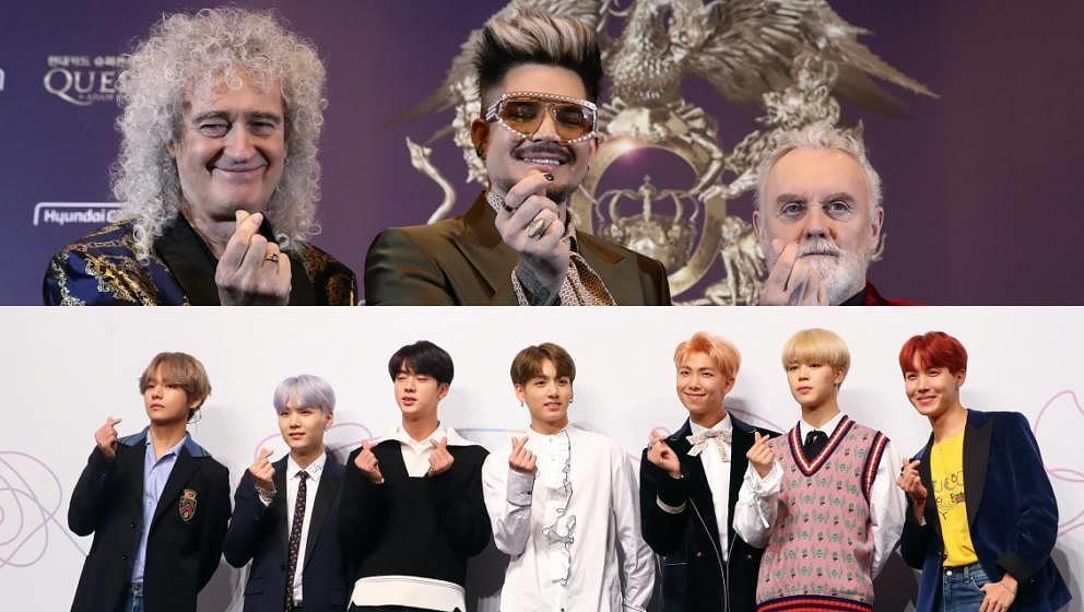 Oben Queen, unten BTS. Adam Lambert und Co. sind schon länger Fans der K-Pop-Gruppe.