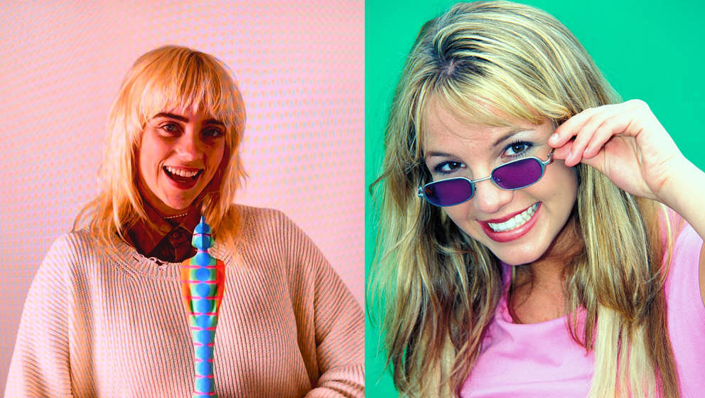 Billie Eilish bei den BRIT Awards 2021 (digital zugeschaltet) – und Britney Spears im Jahr 1999.
