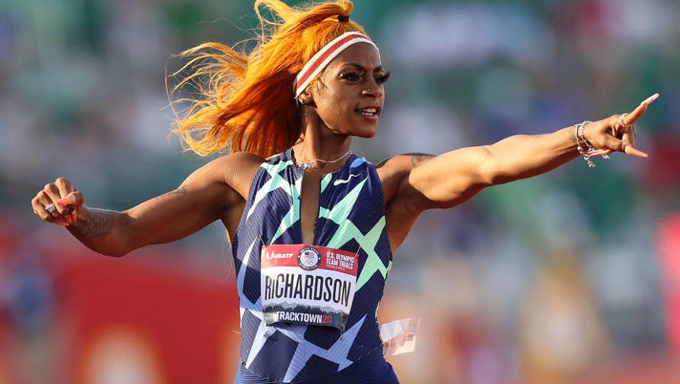 EUGENE, OREGON - JUNE 19: Sha'Carri Richardson runs and celebrates in the Women's 100 Meter semifinal on day 2 of the 2020 U.