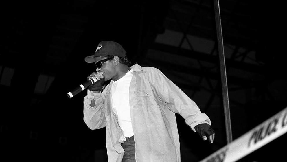 MILWAUKEE - JUNE 1989:  Rapper Eazy-E from N.W.A. performs during the 'Straight Outta Compton' tour at the Mecca Arena in Mil