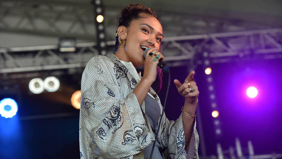 OXFORD, ENGLAND - JULY 05: Joy Crookes performs on stage during Day 1 of the Cornbury Festival 2019 on July 05, 2019 in Oxfor