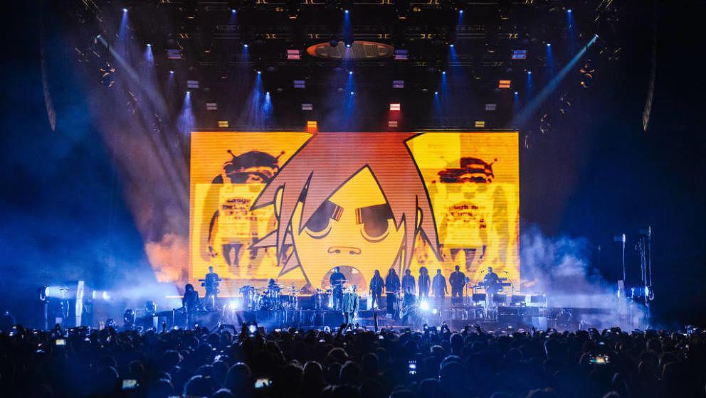 LONDON, ENGLAND - DECEMBER 05:  Gorillaz perform at The O2 Arena on December 5, 2017 in London, England.  (Photo by Joseph Ok