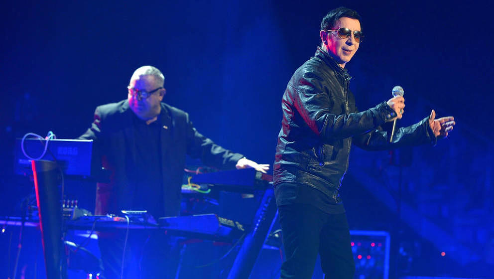 LONDON, ENGLAND - SEPTEMBER 30:  Marc Almond and Dave Ball of Soft Cell perform during a one-off and final show 'Say Hello, W