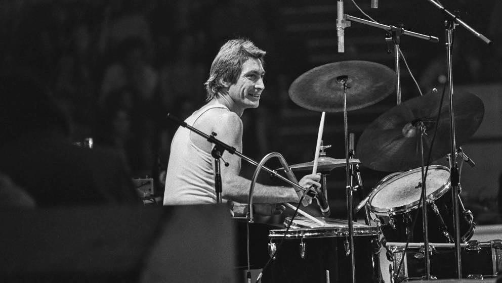 English drummer Charlie Watts of the Rolling Stones at the Empire Pool in Wembley, during the group's 1973 European Tour, Lon