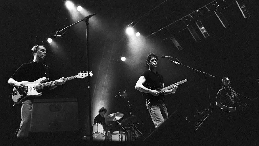 The Velvet Underground live im Ahoy, Rotterdam, 9. Juni 1993; (v.l.n.r.) John Cale, Moe Tucker, Lou Reed and Sterling Morriso