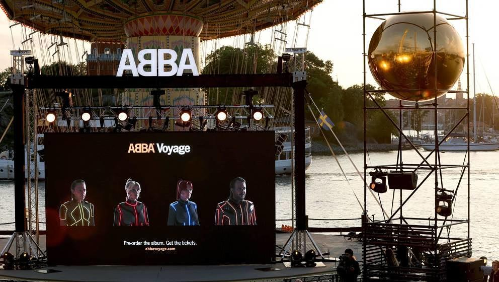 Members of the Swedish group ABBA are seen on a display during their Voyage event at Grona Lund, Stockholm, on September 2, 2