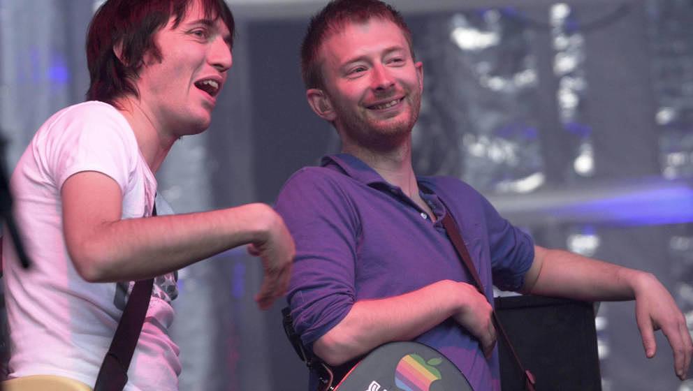 2/5 von Radiohead: Colin Greenwood und Thom Yorke live im Jahr 2001 in Kalifornien