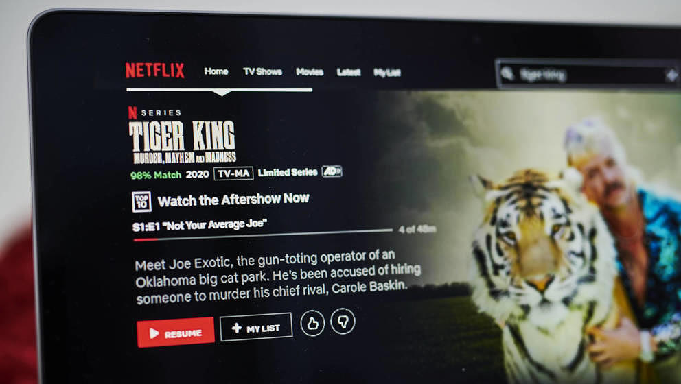 The Netflix Inc. true crime documentary miniseries 'Tiger King' overview page is displayed on a laptop computer in an arrange