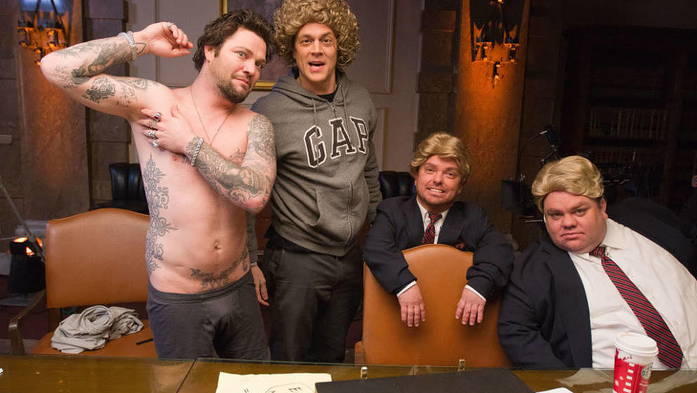 LOS ANGELES, CA - JANUARY 04: (EXCLUSIVE COVERAGE) (L-R) Bam Margera, Johnny Knoxville, Wee-Man and Preston Lacy of 'Jackass'