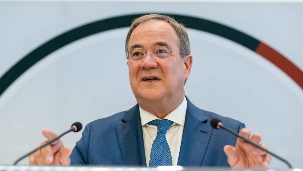 STUTTGART, GERMANY - SEPTEMBER 15: German Christian Democrat Armin Laschet  speaks to the media about metals company Südwest