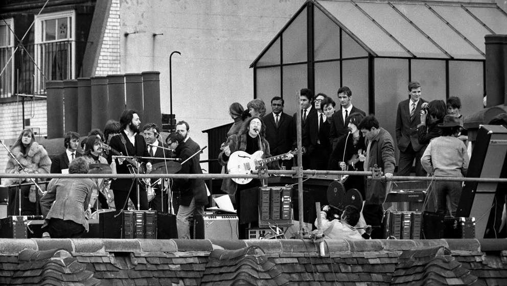 Letzter gemeinsamer Live-Auftritt der Beatles am 30. Januar 1969 in London. (Photo by Jeff Hochberg/Getty Images)