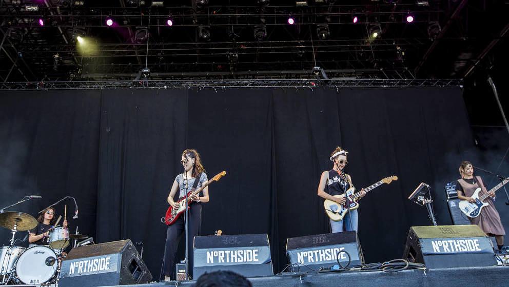 AARHUS, DENMARK - JUNE 07:  Emily Kokal, Jenny Lee Lindberg and Theresa Wayman of Warpaint perform during the Northside Festi