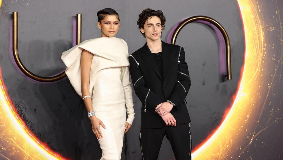 """""""Dune""""-Hauptdarsteller Timothée Chalamet und Zendaya bei der UK-Premiere."""